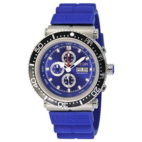 Nautec No Limit Deep Sea Professional DS-P QZ2/RBSTSTBL - Orologio da polso da uomo, cinturino in caucciù colore blu