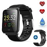 DeYoun Wasserdichte Smart Watch Fitness Armband-Uhr für Männer und Frauen - Fitness Tracker mit Herzfrequenz, Schrittzähler - Uhr Herren - Schlaf-Monitor, Anrufbenachrichtigung, Kalorienzähler UVM