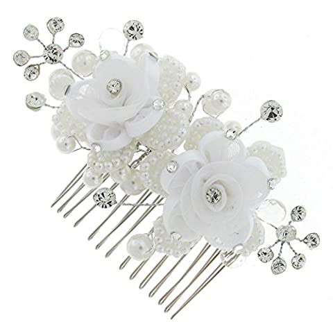 Double White Blossom Rose Flower Bouquet Swarovski Crystal Bridal Hair Piece Comb Clip Accessory