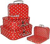 alles-meine.de GmbH 1 Stück _ Kinderkoffer / Koffer - GROß -  Punkte - rot & weiß  - incl. Name - ideal für Spielzeug und als Geldgeschenk - Mädchen & Jungen - Kinder & Erwachs..