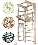 Dani LLC vom Hersteller! Zertifizierte Ware! Sprossenwand Kletterwand Turnwand KN04220 Sprossenwand mit Stange Fitness Sportgerät Gym Klettergerüst Holz