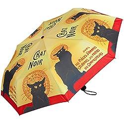 VON LILIENFELD Paraguas Bolsillo Plegable Mujer Hombres Automática Motivo Arte Chat Noir