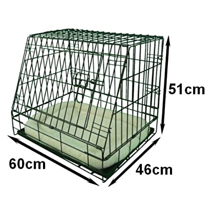 Ellie-Bo Deluxe Sloping Puppy Cage Folding Dog Crate with Non-Chew Metal Tray Fleece and Slanted Front for Car 5