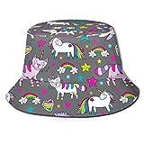 Funny Z Sombrero de Cubo Unisexo Impresionante Lindo Patrón de Vector Transparente con Unicornios Caticorns Impreso Sombrilla Gorra de Pescador