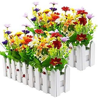 XONOR – Planta Artificial para Flores al Aire Libre – Mezcla de Color Margaritas en Maceta de Palisandro para buzón Interior de jardín de Boda de decoración Principal 2 Juegos