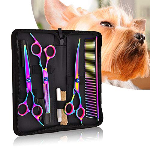 Vuffuw Dog Grooming Scissor, 7 In 1 Stainless Steel Pet Grooming Tool Kit with Straight/Curved Shears/Thinning Shears/Comb/Maintenance Oil/Wipe for Cat and More Pets (Rainbow) -