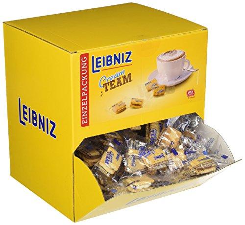 Leibniz Cream Team Mix, Großpackung — Mini-Butterkekse mit Schoko- oder Milch-Creme Füllung — Schoko-Kekse einzeln verpackt — Doppelkekse mit Cremefüllung im Thekenaufsteller (1 x 600 g)