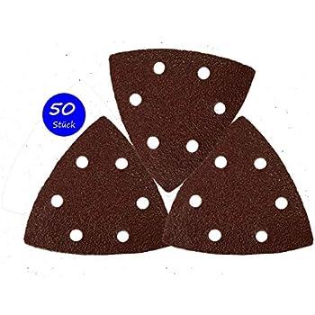 Delta-Triangles de Pon/çage │ 50 pi/èces │ 6 trous │ 93 x 93 x 93 mm │ grain 150 │ pour ponceuses delta │ Feuilles Abrasives │ Papier Abrasif