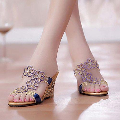 LGK&FA Estate Donna Sandali primavera ed estate sandali sandali di cuoio in cristallo di diamante con il diamante scarpe con punta di pendenza pantofole 34 blu 36 blue