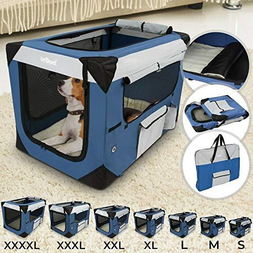 Leopet Hundetransportbox | Faltbar, Abwaschbar, Größenwahl S-XXXXL | Hundebox, Katzenbox, Transporttasche, Faltbox, Reisebox(XXL)