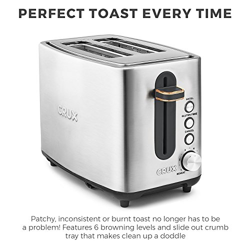 CRUX Stainless Steel 2 Slice Toaster – 6 Settings – Extra Wide Slots For Bagels & Thick Bread – Gluten Free Option – Reheat Setting & Slide Out Crumb Tray