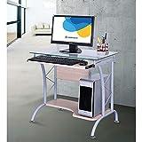 Scrivania Porta Computer PC in Acciao e Vetro Piano Estraibile Fumer Apple Grigio/Acero