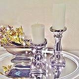 Clic-And-Get SCHICK Kerzenständer Kerzenleuchter Kerzen Stumpenkerzen Silber Keramik (Klein)