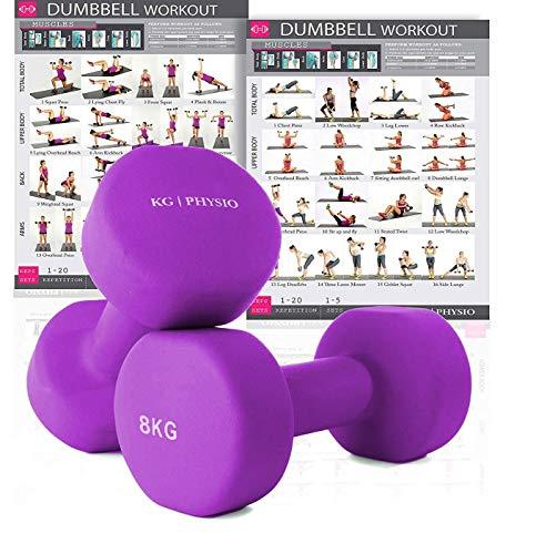 KG Physio Neopren-Hanteln für Damen und Herren (Gewichte kommen paarweise), A3 Poster enthalten, 1-8kg hantelset (lila 8kg)