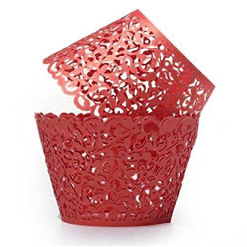 SYN 50 Stück Perlmuttpapier Weinrebe Spitze Filigrane Hochzeit Cupcake Wrapper Backen Kuchen Cupcake Tower Hochzeit Geburtstag Party Taufe Dekoration, rot, Free Size
