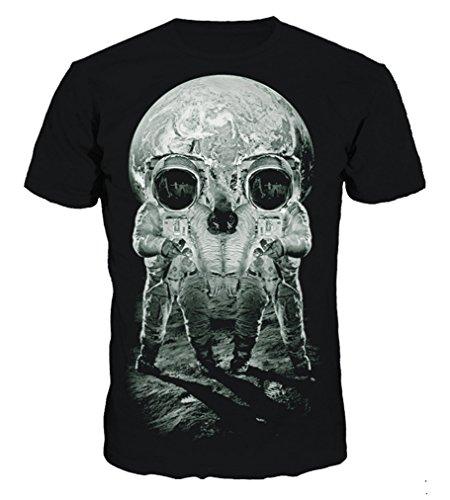 Pretty321 Men Women 3D Skull Monster Printing Hip Hop Slim T-shirts Collection Moon Landing Skull