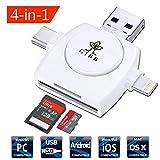 GIBB Lector de Tarjetas de Memoria, 4 en 1 Lector de Tarjetas con Lightning, Micro USB, USB A y Tipo C Conector TF USB SDHC OTG para (para iPhone, iPad, MacBook y Smartphone Andriod, Soporte iOS 11)