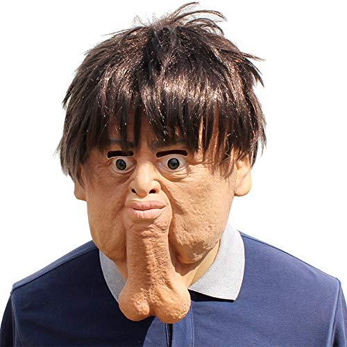 Halloween Maske Hässliche Mann Gesicht Latex Haube Maske Penis Volle Gesichtsmaske Cosplay Neuheit Masquerade Kostüm Partei Requisiten Rolle Spiel Spielzeug Für Erwachsene (Willy Mann Kostüm)