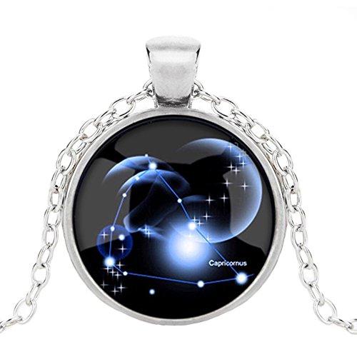 hen Kette Sternbilder Horoskop Anhänger Nachtleuchtend Schmuck Glas Cabochon Silber Halskette für Damen/Herren Geschenk (Steinbock) ()