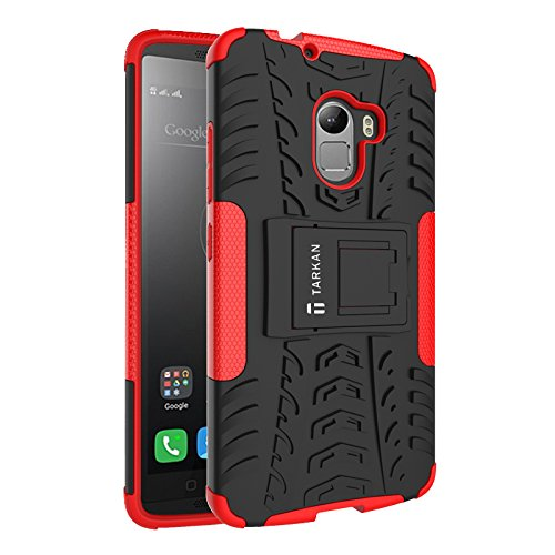 TARKAN Dazzle Hard Armor Hybrid Rubber Bumper Flip Stand Rugged Back Case Cover For Lenovo K4 Note / X3 Lite (Red)