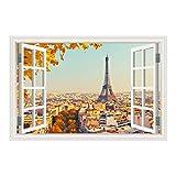 FEDZH Tour De Paris Murale Mer 3D Fenêtre Faux Vinyle Autocollants Muraux Décoration De Bureau À Domicile Paysage Papier Peint(90CM X 60CM)