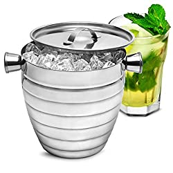 Bar@drinkstuff Manhattan Nights Stainless Steel Ribbed Ice Bucket 1.8ltr By