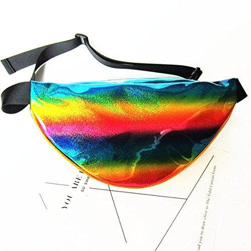 Borse a Mano per Donna PVC Trasparente Traslucido Borsa con Maniglia Marsupio 2Ways Springer Riflessione superficiale Impermeabile rainbow