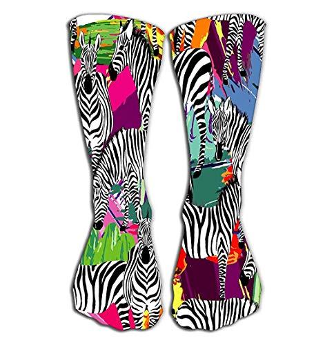 YudoHong Outdoor-Sport Männer Frauen Hohe Socken Strumpf Zebra Schwarz Weiß Muster Zusammensetzung Tropic Animal Jungle Bunter Druck S