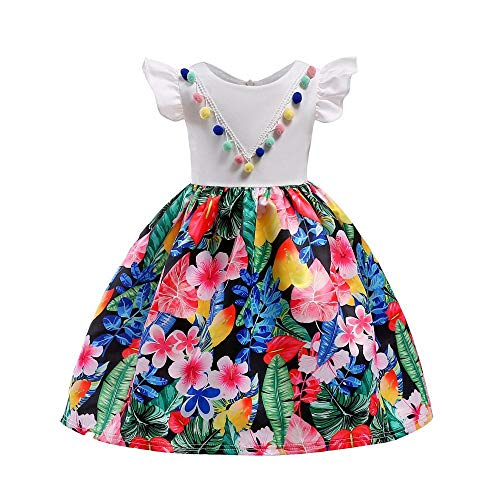 QJKai Frühjahr Sommer Mädchen Kleid Rock Farbe Kugel Chiffon Kinder Kleid
