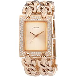 GUESS Women's Quartz Watch with Rose Gold Dial Analogue Display and Rose Gold Stainless Steel Bracelet W0072L3