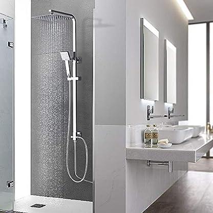 51n%2BpiMQSBL. SS416  - AuraLum Conjunto de Ducha Sistema de Ducha Pared Columna sólido douchettes Grifo para Cuarto de baño latón Cromado