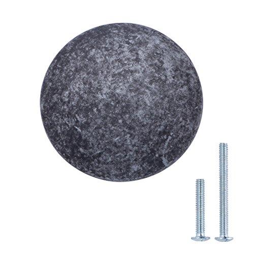 AmazonBasics - Schubladenknopf, Möbelgriff, rund, Durchmesser: 2,99 cm, Antik-Silber, 10er-Pack