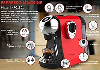 Professional Capsule Espresso Coffee Machine for Cappuccino/Latte art/Machiatto/Mocha with Cafe-Quality frothing and steam Wand - Blazer I RC1801 by Nutri Chef by Nutri Chef