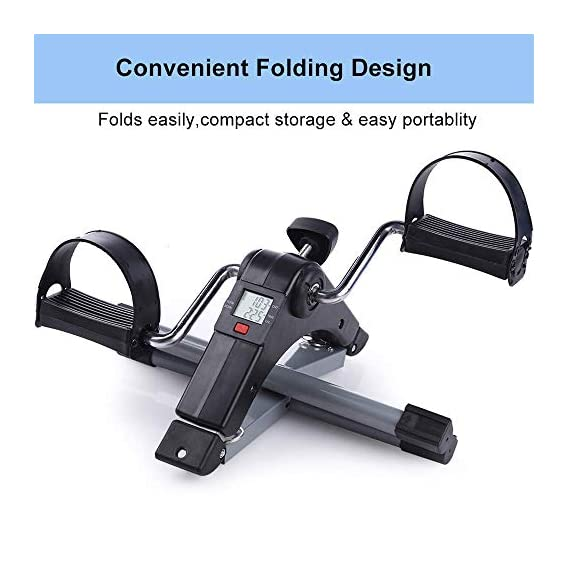 SellBotic Fitness Cycle - Foot Pedal Exerciser - Foldable Portable Foot, Hand, Arm, Leg Exercise Pedaling Machine - Folding Mini Cycle for Seniors, Digital