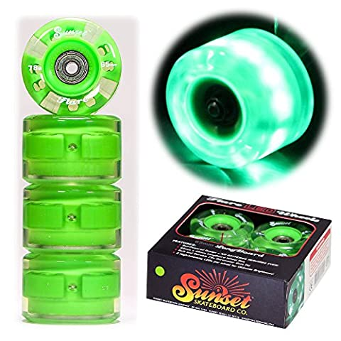 2016 Sunset Skateboards Green 65mm Longboard LED Light-Up Wheels Set - Round - with ABEC-9 Bearings (4-Pack)