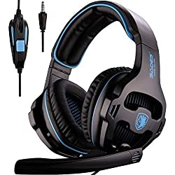Nuevo SADES SA810 camuflaje Multi-Platform Auriculares Gaming, 3.5mm Gaming auriculares con micrófono inteligente cancelación de ruido para nueva Xbox One/PS4/iPad/iPod(negro y azul)