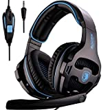 SADES SA810 3.5mm Multi-Platform Cuffie Gaming, Cuffie da Gioco Con Microfono Controllo del Volume Noise Cancelling Per New Xbox uno/PS4/PC/Laptop/Mac/iPad/iPod(Nero/Blu)