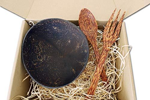 Tropical Freaks® Kokosnussschale im Set mit Palmenholz Löffel & Gabel | Coconut Bowl | Buddha Bowl | Smoothie Bowl | Kokosnuss Schale -