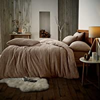Artistic Fashionista Luxurious Quality & Extremely Soft and Fluffy TEDDY FLEECE Duvet/Quilt Cover Set With Matching Pillowcases Bedding (Mink, King Duvet Cover Set)