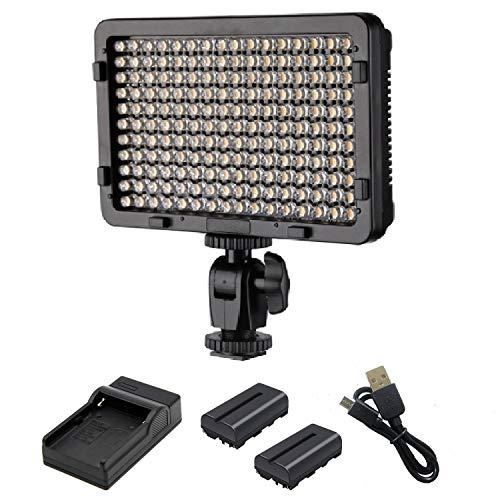 Followsun 176 LED Video Studio Light 5600K Luce LED Foto Studio Illuminazione con 2-piece 2600mAh Li-ion Batterie e Micro USB Caricabatterie per Canon Nikon Sony e altre Videocamere DSLR
