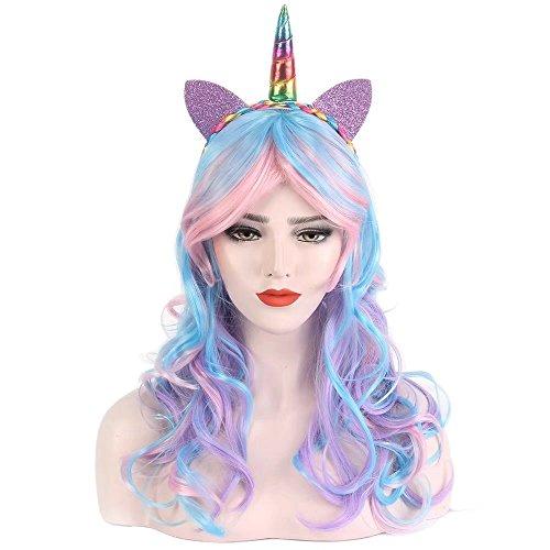 STfantasy Damen Mädchen Einhorn Perücke Cosplay lang gelockt Verträumt Süß Niedlich wig für Halloween Party Karneval Verträumte Mädchen