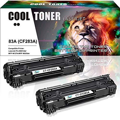 Cool Toner 2-Pack Kompatibel für HP 83A CF283A Toner für HP Laserjet Pro MFP M125nw M127fw Toner, HP MFP M127fn M125a M225dn M127fs M128fw, HP M125a M127fs, HP M201dw M201n Schwarz, 1500 Seiten