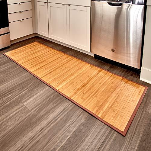 IDesign Alfombra antideslizante, alfombra de madera de bambú extralarga, alfombrilla de baño, cocina...