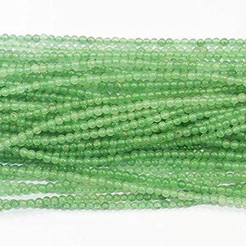 TheTasteJewelry 2mm Rund Aventurin Natürlich Perlen 38cm Strang DIY Schmuckherstellung Zubehör Halskette Armband Basteln Selbermachen
