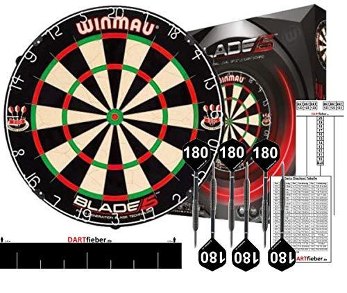 Winmau Mega Starter-Set Bristle Steel Dartboard Original Blade 5 Bristle Board + Abwurflinie + 2 Set Steel-Darts + Checkoutkarte + Scoreboard Block