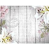 Fototapeten Holz Blumen Vintage Grau 352 x 250 cm Vlies Wand Tapete Wohnzimmer Schlafzimmer Dekoration Wandbilder XXL Wanddeko Flower 100% MADE IN GERMANY - Runa Tapeten 9117011a