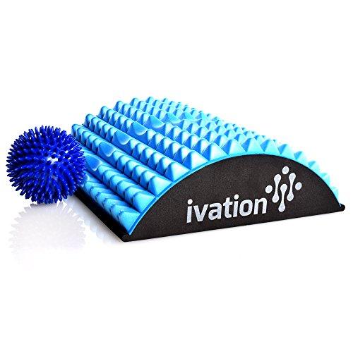 Ivation Lumbar Back Stretcher Device for Chronic Lower Back Pain – BONUS High Density Spiky Massage Ball