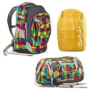 Match :  satch by ergobag beach leach 2.0 ensemble 3 pièces sac à dos, sac de sport orange & housse anti-pluie-des ganztagsbegleiter :  sac à dos de taille jusqu'à 1,90 m