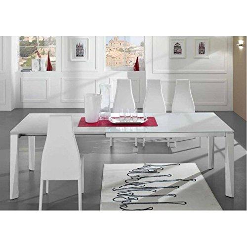 Friulsedie Table Extensible T78 Matrix 140 x 90 Super Jambes hêtre laqué Brillant Blanc Plan Verre Anti-Rayures