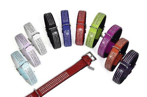 Holly Leder (Leder Halsband HOLLY GOLIGHTLY mit 4-reihigem Strassbesatz in 10 Farben und 4 Größen (von 50 bis 65cm))
